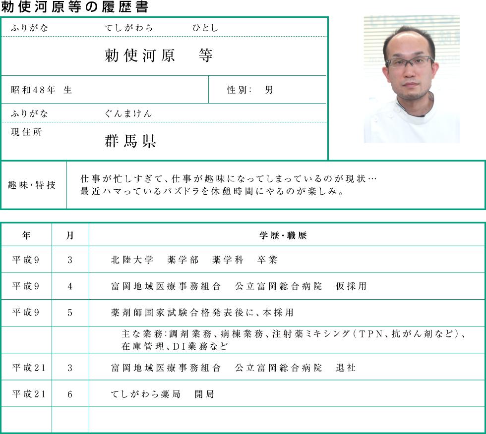 代表の履歴書